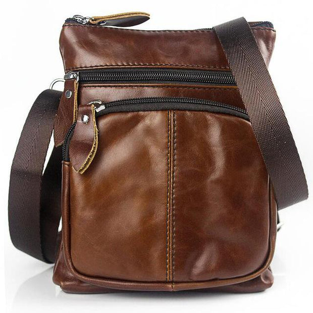 West Louis™ Crossbody Leather Shoulder Bag Brown - West Louis