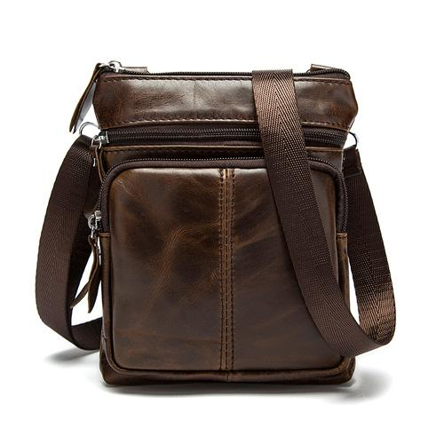 West Louis™ Crossbody Leather Shoulder Bag Coffee - West Louis
