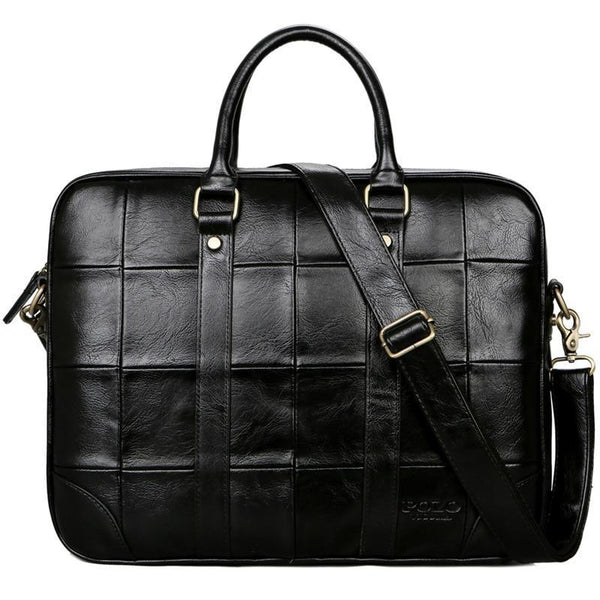West Louis™ Plaid Design Large Capacity Leather Handbag