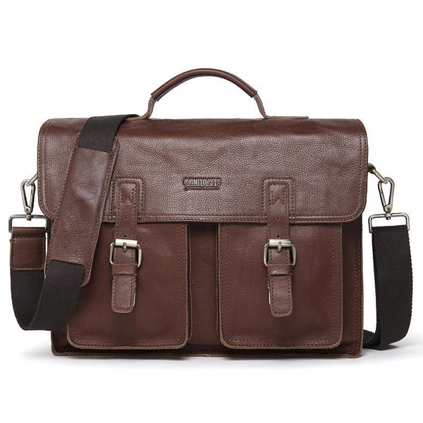 West Louis™ Genuine Leather Men Briefcase