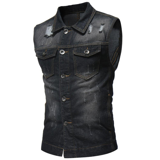 West Louis™ Sleeveless Jeans Jacket Black / L - West Louis