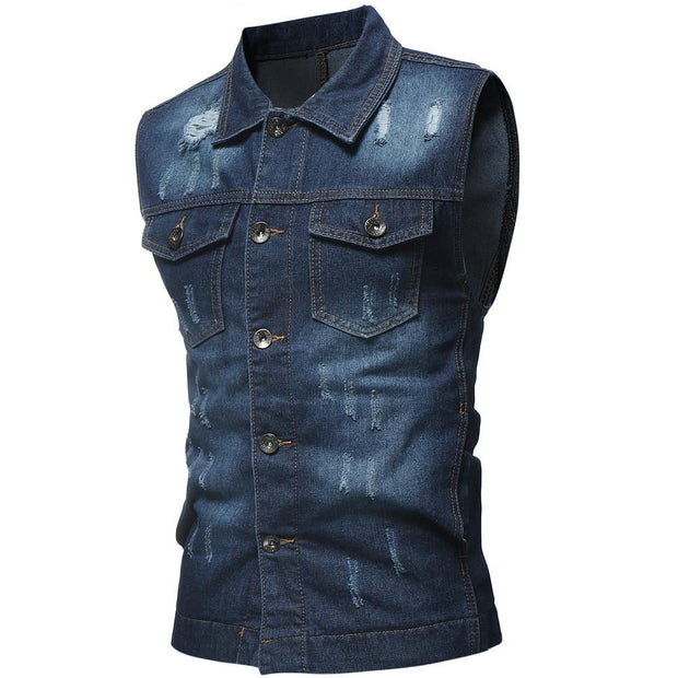 West Louis™ Sleeveless Jeans Jacket Dark Blue / L - West Louis