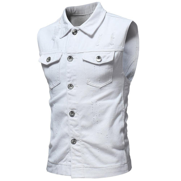 West Louis™ Sleeveless Jeans Jacket White / L - West Louis