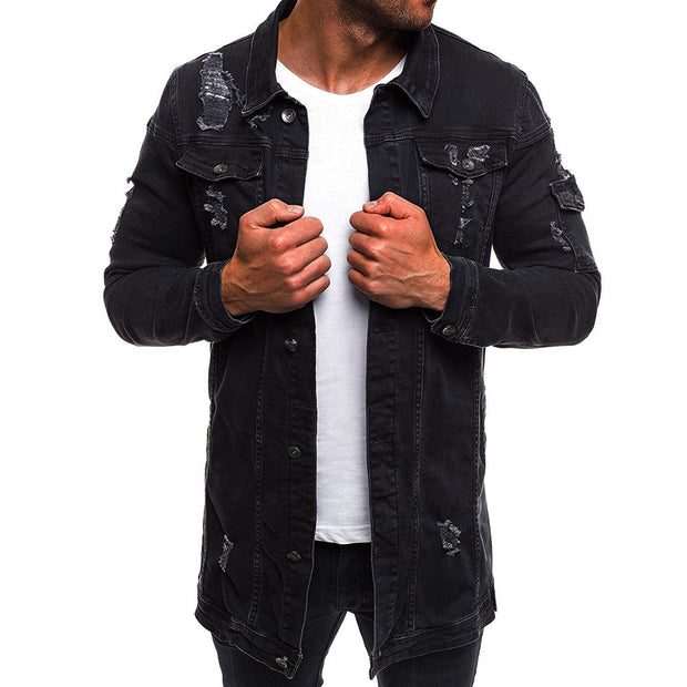 West Louis™ Style Distressed Denim Street Long Jacket