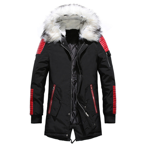 West Louis™ Fur Collar Hooded Black Color Long Parka