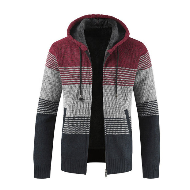 West Louis™ Striped Knitting Zipper Hoodie