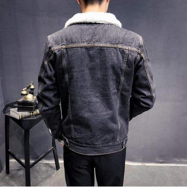 West Louis™ Trendy Warm Fleece Denim Jacket