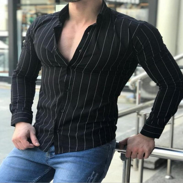 West Louis™ Luxury Striped Business Dress Shirt