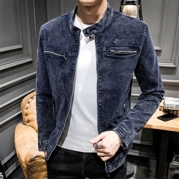 West Louis™ Solid Retro Style Denim Jacket