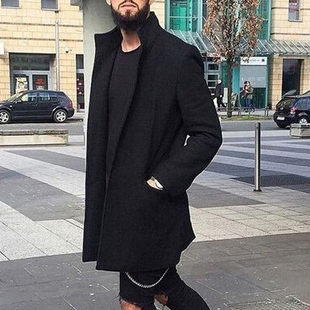West Louis™ Solid Slim Wool Trench Lapel Coat