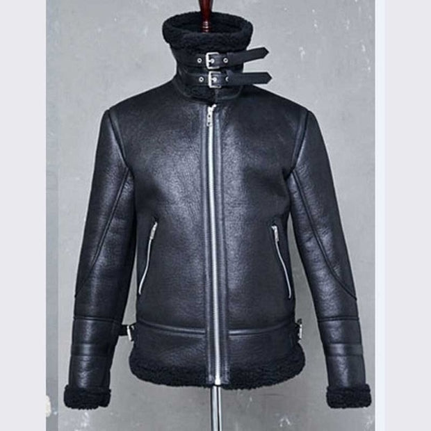 West Louis™ Brand Thick Warm Leather Jacket
