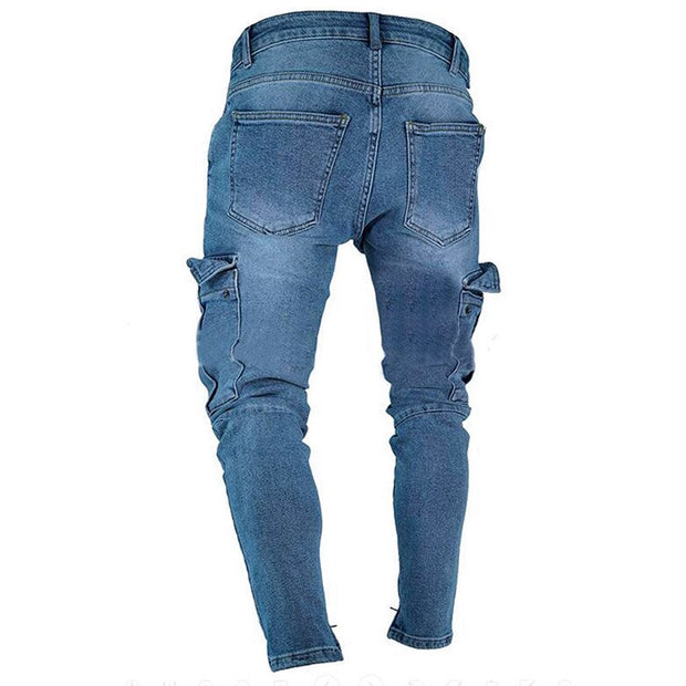 West Louis™ Trend Knee Hole Zipper Feet Jeans