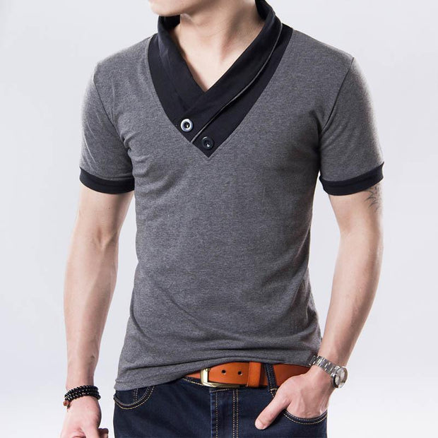 West Louis™ Short Sleeve V Neck Button Tee  - West Louis
