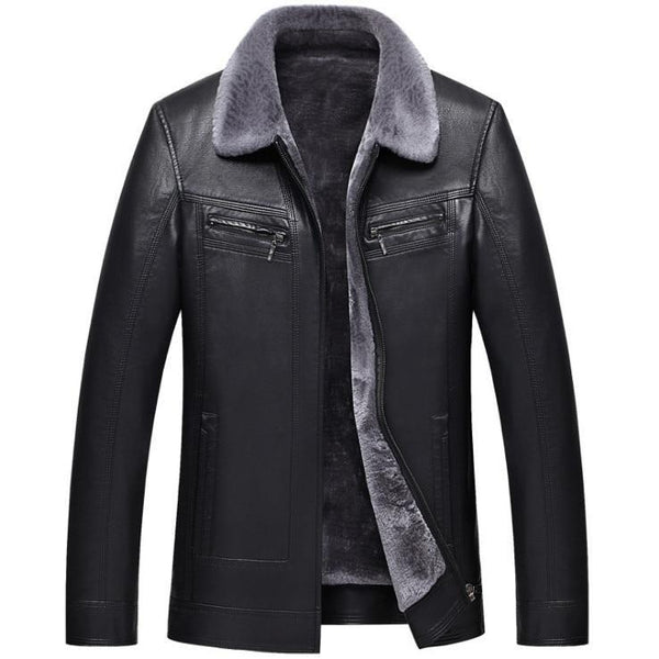 West Louis™ Top Quality Faux Fur Leather Jacket