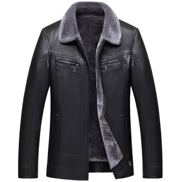 West Louis™ Designer Faux Fur Lining Leather Jacket