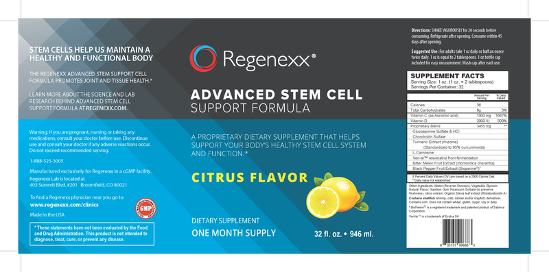 Regenexx Liquid Advanced Stem Cell Support Formula - Citrus Flavor