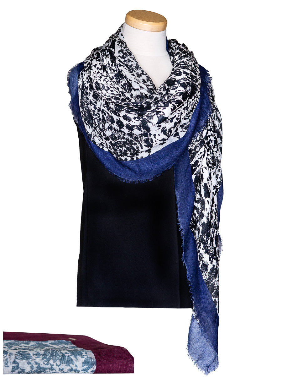 Cashmere Square Scarf with Geometric Print