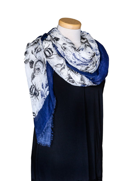 Cashmere Square Scarf with Floral Print