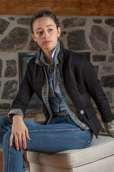 Jeans Jacket with Jersey Blazer attached