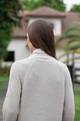 Repeat Puff Sleeved Mid-Length Rib Knit Cardigan