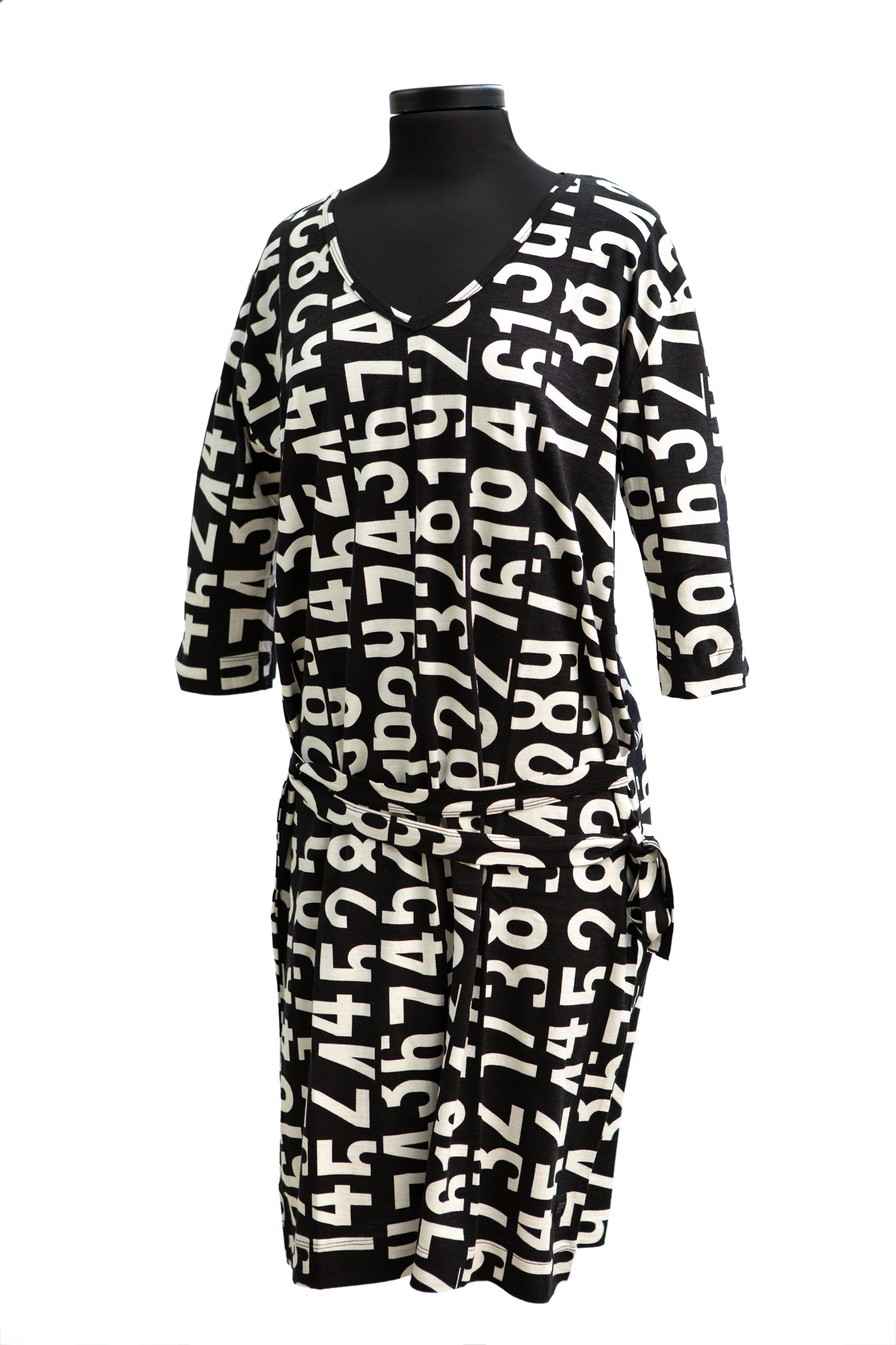 P & I Number Printing Cotton Black Dress
