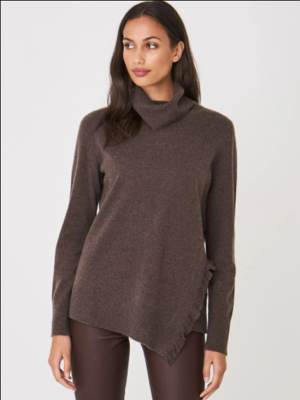 REPEAT cashmere Turtleneck sweater with fringes