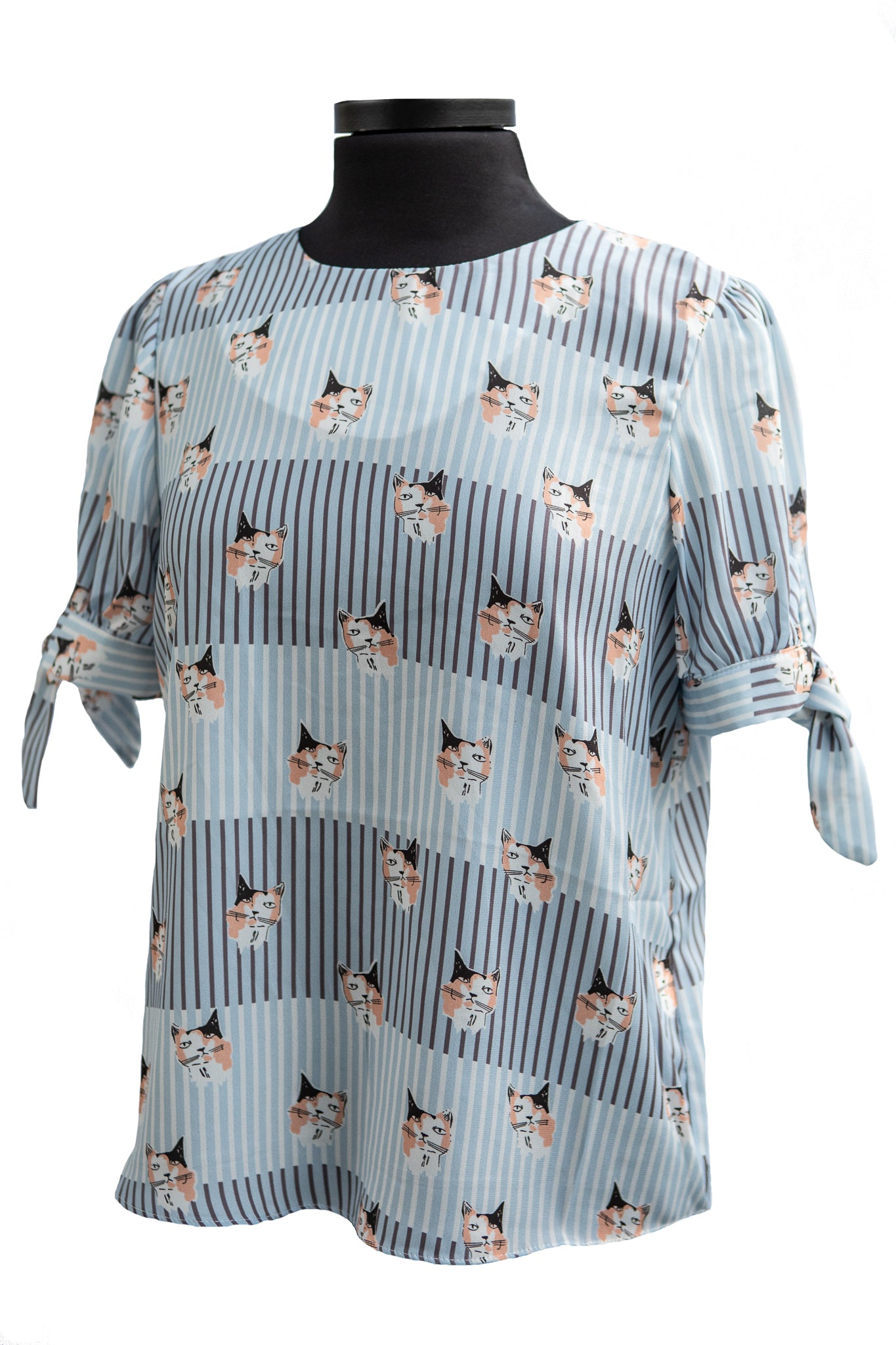 Molly Bracken Striped Pattern Printed Cat Blouse
