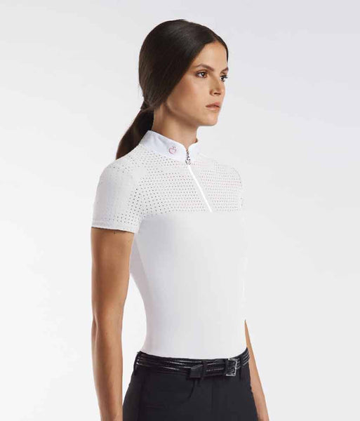 Cavalleria Toscana Square Perforated Zip Short Sleeve Competition Polo