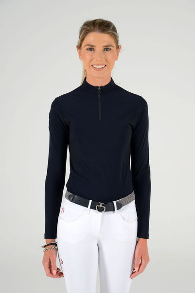 Cavalleria Toscana Perforated Jersey Zip Long Sleeve Training Polo
