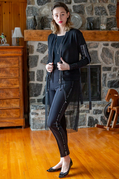 Black Zipped Cardigan