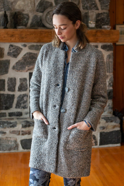 Long Knitted Coat with Buttons