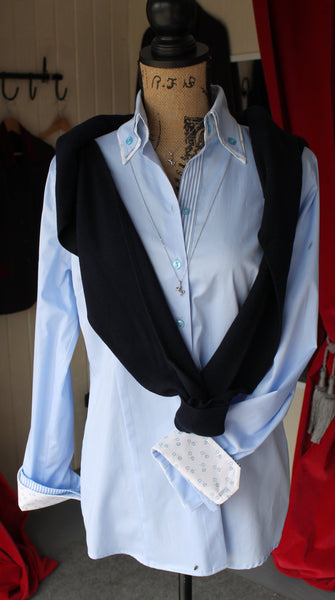 Blue double collar shirt W18