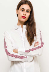 Zac & Zoé Red and White Striped Long Sleeve Shirt