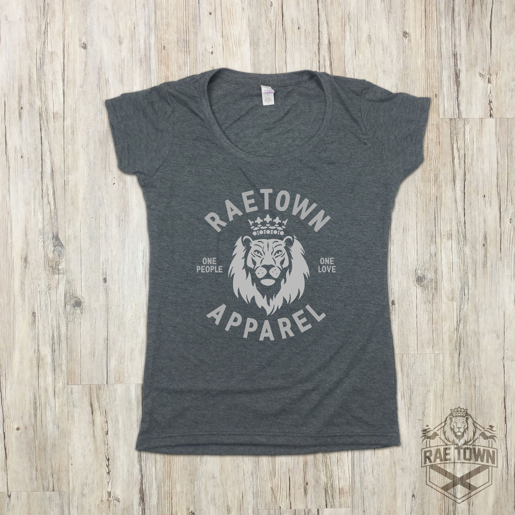 One Love, Rae Town Lion Logo | Women's Scoop Neck
