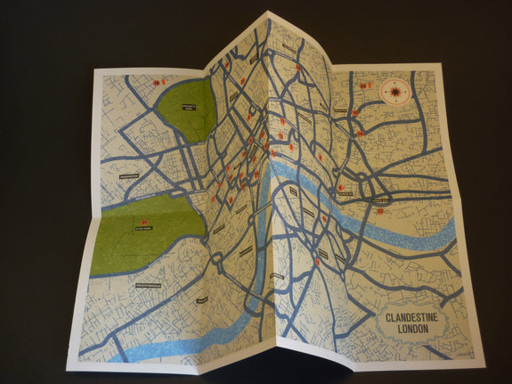 Clandestine London Travel Guide unfolded