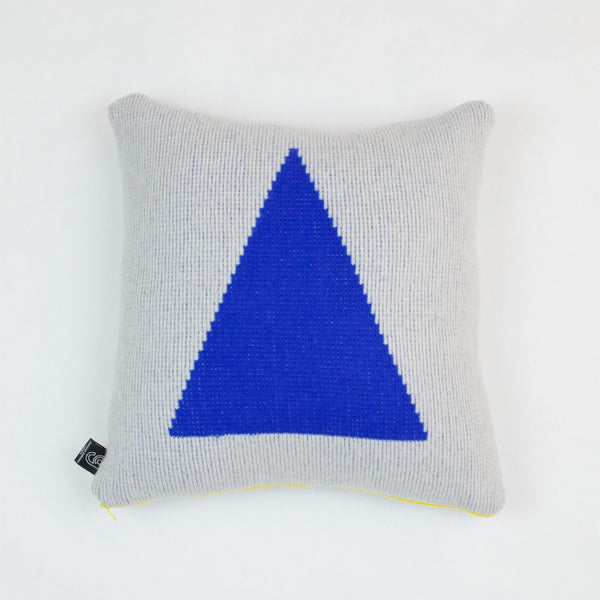 Blue Triangle Cushion with Yellow Zip by Giannina Capitani