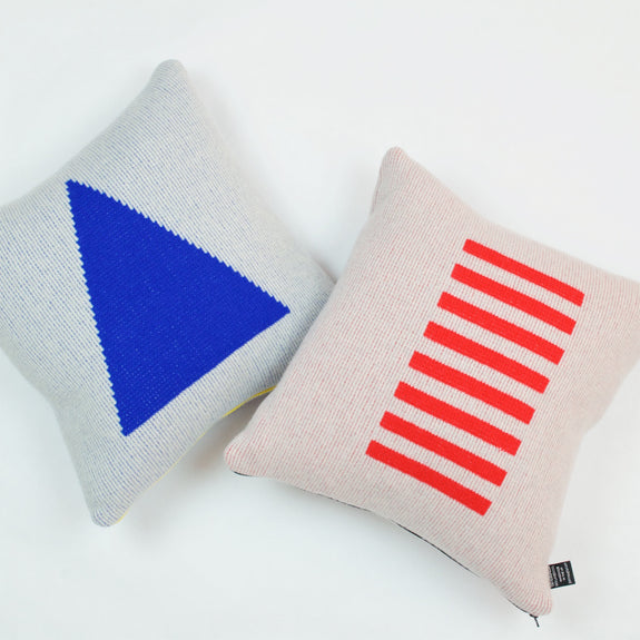 Blue Triangle & Red Stripe Cushions