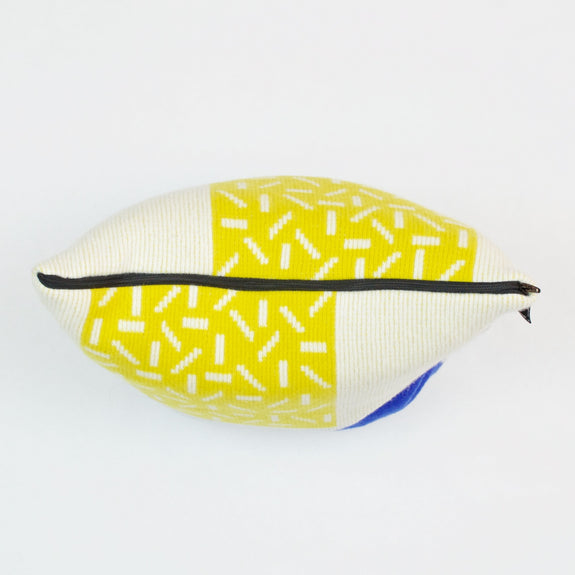 Etto Cushion in Yellow and Blue Zip Detail