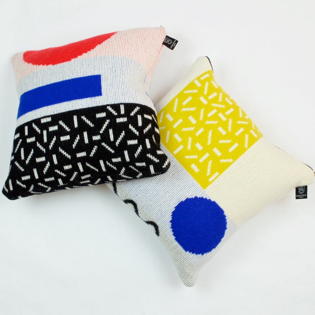 Etto Cushion in Yellow and Blue with Forma Cushion in Red and Black