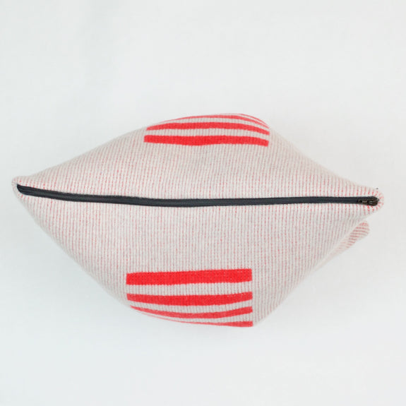 Red Stripe Cushion Black Zip Detail