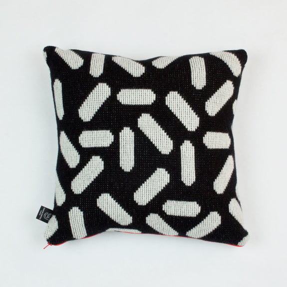 Tic-Tac Cushion in Black and White by Giannina Capitani