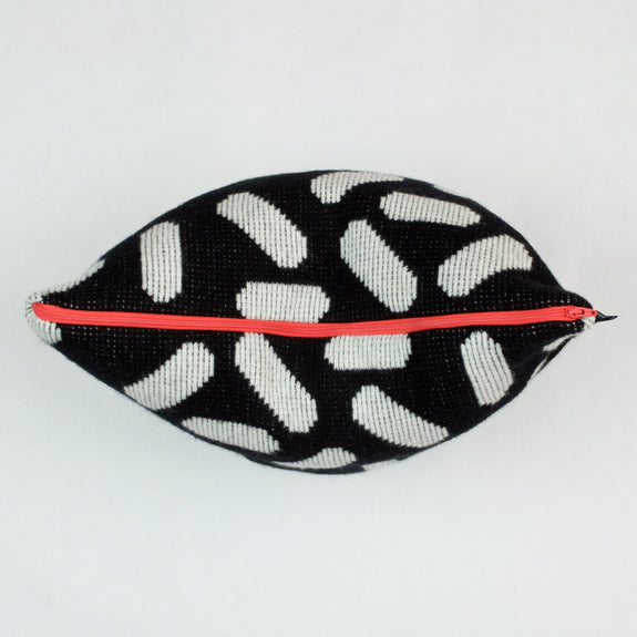 Tic-Tac Cushion in Black and White with Red Zip Detail