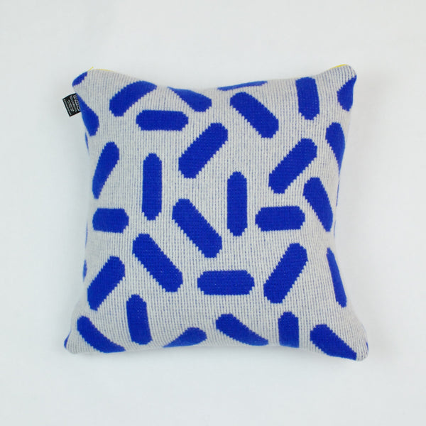 Tic-Tac Cushion in Grey and Blue by Giannina Capitani