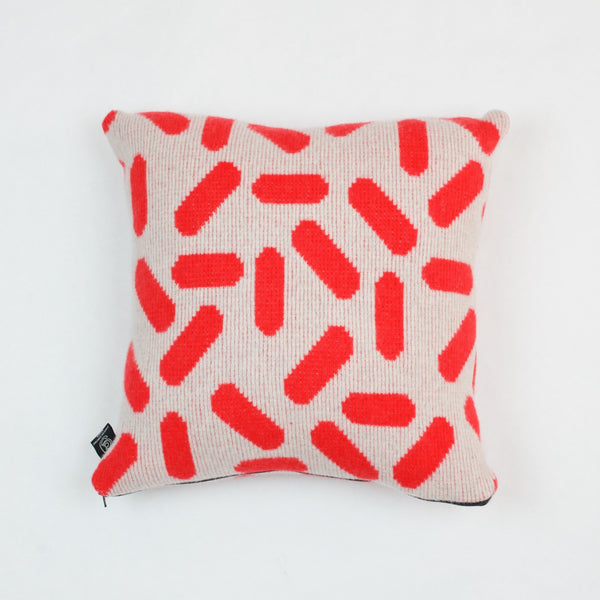 Tic-Tac Cushion in Grey and Red by Giannina Capitani