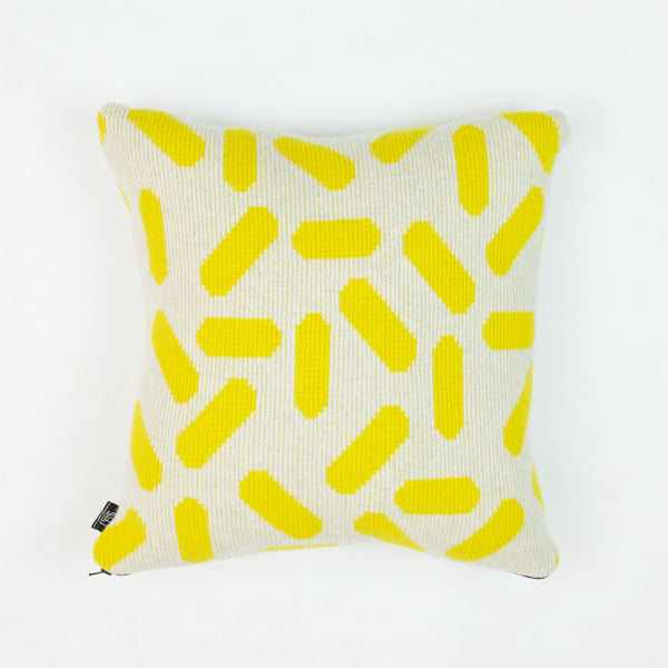 Tic-Tac Cushion in Grey and Yellow by Giannina Capitani