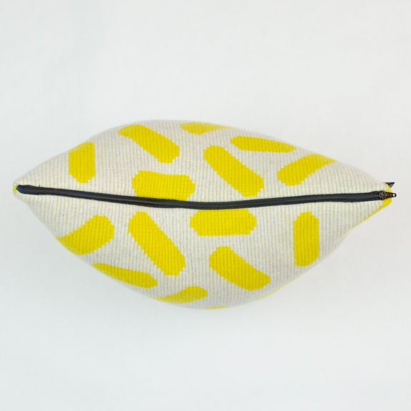Tic-Tac Cushion in Grey and Yellow with Black Zip Detail