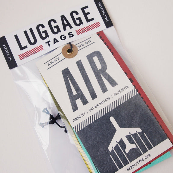Luggage tags: air, rail, land, sea - package close-up