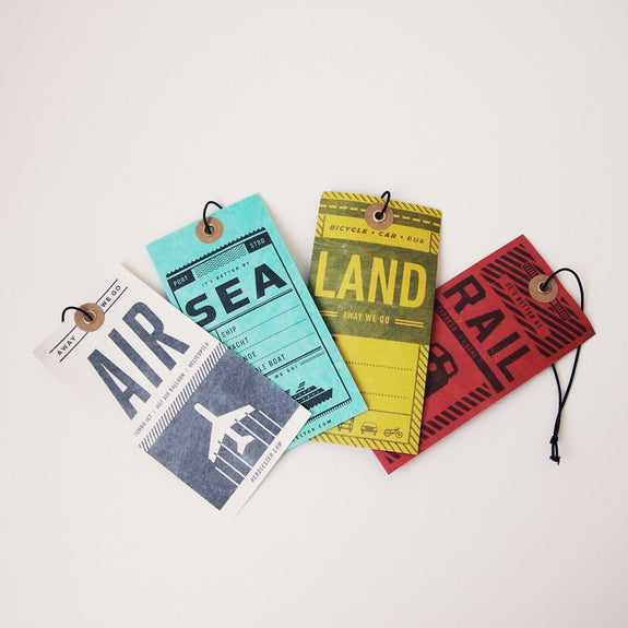 Luggage tags: air, rail, land, sea - set