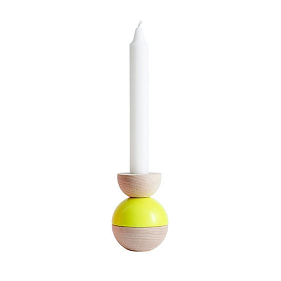 Yellow Bobble High Candleholder