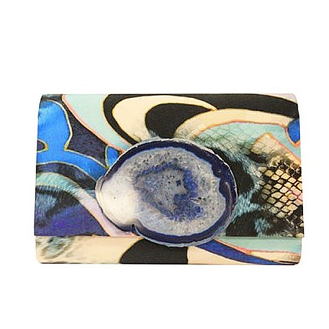 Large Blue Printed Clutch